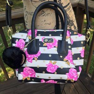 Betsy Johnson Crossbody black, white & rose bag